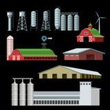 Lantgårdbyggnader och konstruktioner royaltyfri illustrationer