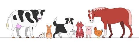 Lantgårddjur i rad royaltyfri illustrationer