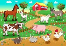 Lantgårddjur med bakgrund. Arkivfoto