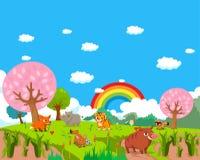 Lantgårddjur med bakgrund Arkivfoto