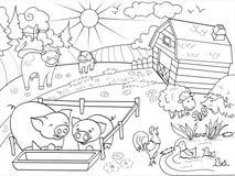 Lantgårddjur och lantlig landskapfärgläggningvektor för vuxna människor Arkivfoto