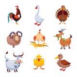 Lantgårddjur och uppsättning för fågelvektorillustration Arkivfoton