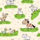 Lantgårddjur på gräs stock illustrationer
