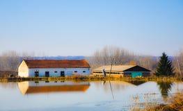 Lantgården på sjön Arkivbild