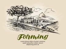Lantgården skissar Jordbruk lantligt landskap som brukar vektorillustrationen Arkivbilder