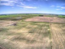 Lantgårdfält i lantliga North Dakota, Amerikas förenta stater royaltyfria foton
