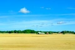 Lantgårdfält med bondehus- och vindkraftgeneratorer Agrivulture begrepp arkivbild