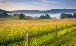 Lantgårdfält och avlägsna berg på en dimmig morgon i det lantligt arkivbilder