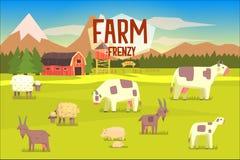 Lantgårdfrenesiillustration med fältet som är fullt av djur royaltyfri illustrationer