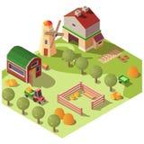 Lantgårdgårdsplan med den isometriska vektorn för uthus vektor illustrationer