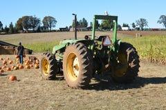 Lantgårdhanden lastar av pumpor från traktoren nära Salem, Oregon royaltyfri bild