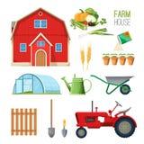 Lantgårdhusuppsättning av utrustning för lantliga arbeten och ladugård royaltyfri illustrationer