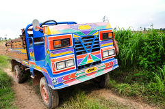 Lantgårdlastbil bland frodiga ängar Arkivfoto
