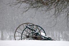 Lantgårdmaskineri i snön