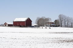lantgårdmidwest vinter Arkivbild