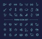 Lantgårdsymbolsuppsättningen som är enkel och fodrar thin, design Fotografering för Bildbyråer