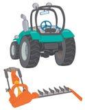 Lantgårdtraktor med gräsklippningsmaskinen Arkivbild