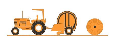 Lantgårdtraktor och rund baler Royaltyfri Foto