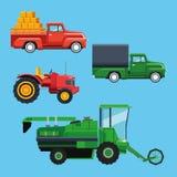 Lantgårdtraktorer och medel stock illustrationer