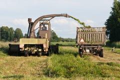 Lantgårdtraktorer som samlar silon Arkivbilder