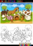 Lantgård- och boskapdjur för färgläggning Arkivfoton