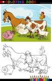 Lantgård- och boskapdjur för färgläggning Royaltyfri Fotografi