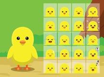 Lantgården Chick Cartoon Emotion vänder mot vektorillustrationen Arkivbild