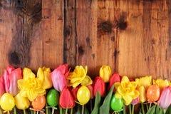 Lantlig bakgrund för påsk Rosa färg- och gulingtulpan och påskliljablommor i raden på gamla träplankor Royaltyfri Foto