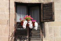 Lantlig balkong med blommor arkivbilder