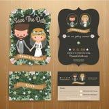 Lantlig bohemisk uppsättning för mall för kort för tecknad filmparbröllop royaltyfri illustrationer