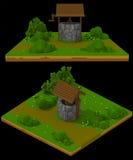 lantlig brunn för voxel 3d Royaltyfri Foto