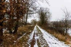 Lantlig bygdväg på en vinterdag med fält och snö Royaltyfria Bilder