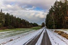 Lantlig bygdväg på en vinterdag med fält och snö Arkivfoto