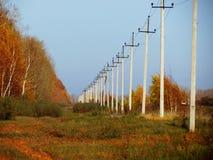 Lantlig elektrisk linje Arkivfoto
