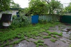 Lantlig gård efter regnet som är bevuxet med gräs och poddles royaltyfria bilder