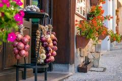 Lantlig garnering av ingången till stången i en liten italienare royaltyfri fotografi