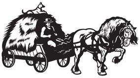 Lantlig häst dragen vagn Arkivfoto