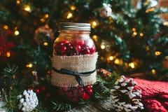 Lantlig jul Mason Jar Decor Royaltyfri Fotografi