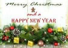 Lantlig julgräns med meddelandet Fotografering för Bildbyråer