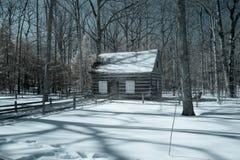 Lantlig kabin i snöig trän i Michigan Arkivfoton