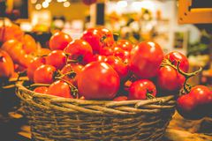 Lantlig korg av nya organiska tomater på mörk bakgrund i bondemarknad Arkivfoton