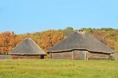 Den forntida vide- ladugården med ett sugrör taklägger Royaltyfri Fotografi