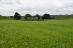 Lantlig ladugård i fältet, Wetton, Staffordshire, England arkivbilder
