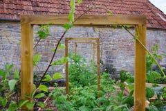 Lantlig landsgrönsak- & blommaträdgård med lyftta sängar och ram för att klättra växter Royaltyfria Foton