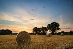 Lantlig landskapbild av sommarsolnedgången över fält av höbaler Arkivbild