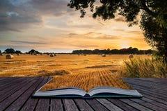 Lantlig landskapbild av sommarsolnedgången över fält av höbaler c Arkivfoto