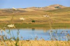 LANTLIG LANDSKAPSOMMAR Mellan Apulia och Basilicata: skördade vetefält Sjö Basentello Poggiorsini - ITALIEN Royaltyfri Foto