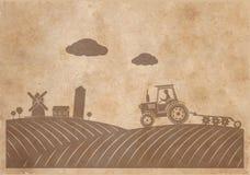Lantlig landskaptextur av gammalt papper i grungestil Royaltyfri Fotografi
