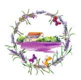 Lantlig lantgård - provencal hus, lavendelblommafält i Provence vattenfärg arkivbilder