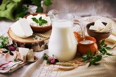Lantlig mejeriproduktstilleben Royaltyfria Bilder